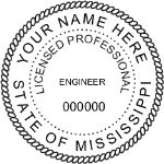 SMSES - Shiny R-542 Self-Inking Mississippi Engineer Seal